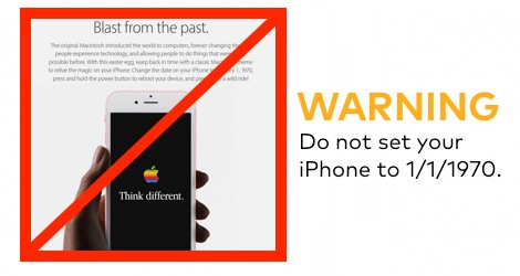 Do Not Set your iPhone to 1970